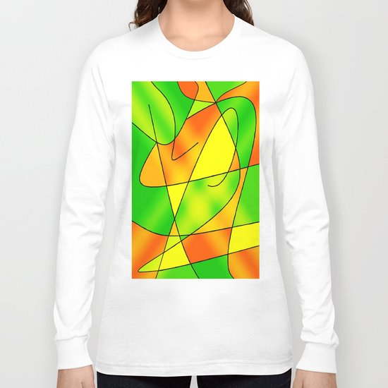 ABSTRACT CURVES #2 (Greens, Oranges & Yellows) Long Sleeve T-shirt