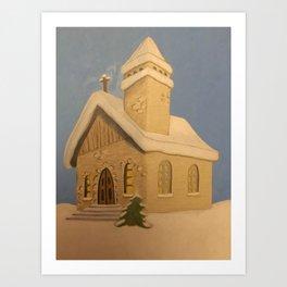 Christmas Church Art Print