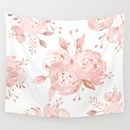 Roses Rose Gold Glitter Pink by Nature Magick Wall Tapestry