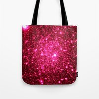 glitter Tote Bags featuring Hot Pink Glitter Stars by 2sweet4words Designs