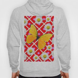 Red Color Shasta Daisys & yellow butterfly Pattern Garden Art Hoody