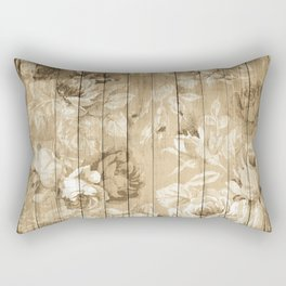 Shabby Chic Country Floral Peony Wood Rectangular Pillow
