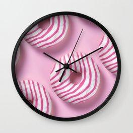 Pink Sugar Donuts Pattern  Wall Clock