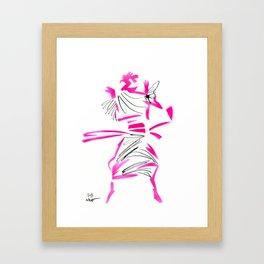 Leaping Comme model Framed Art Print