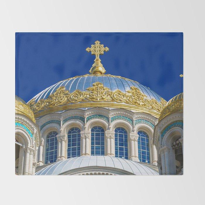 Marine Kathedrale in Kronstadt / Saint Petersburg Throw Blanket
