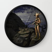 capricorn Wall Clocks featuring Capricorn by Viggart