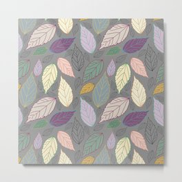 Assorted beautiful colorful leaves on warm grey Metal Print