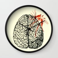 brain Wall Clocks featuring Brain by Emilie Ringlet