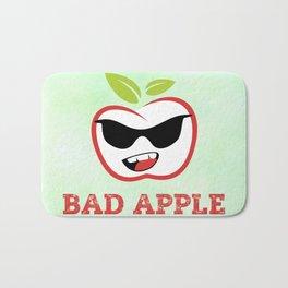 Bad Apple in Black Sunglasses with Attitude Bath Mat
