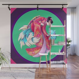 Maiko and Kitsune Wall Mural