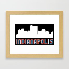 Red White Blue Indianapolis Indiana Skyline Framed Art Print