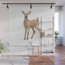 MBTI Spirit Animal Deer INFJ Cute Kawaii Watercolor Print Wall Mural