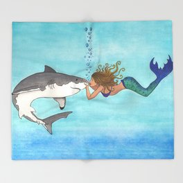The Shark and the Mermaid Throw Blanket