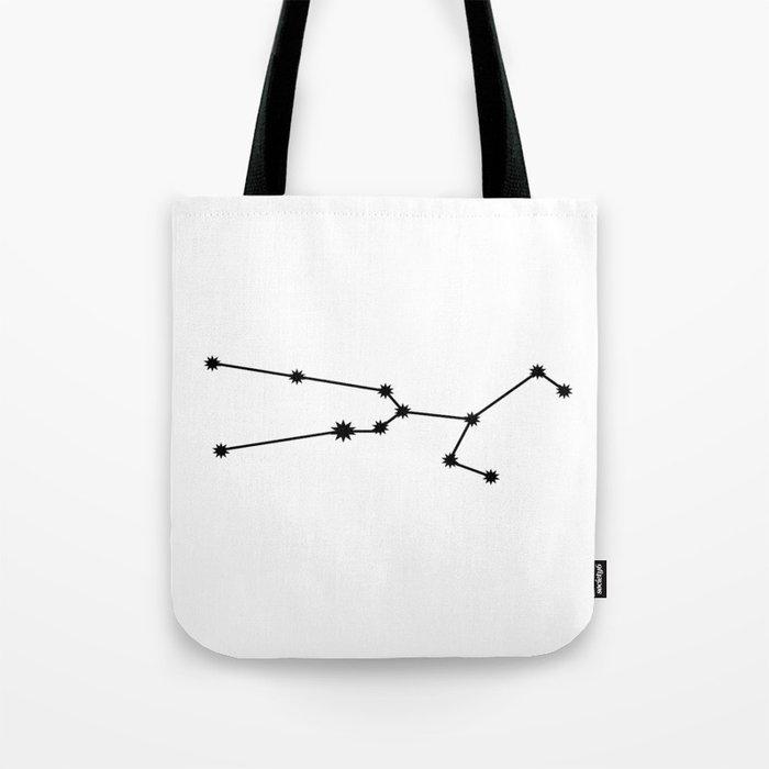 Taurus Star Sign Black & White Tote Bag
