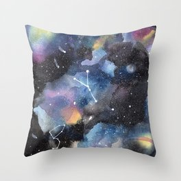 Galaxy sky in watercolors with star constellations Throw Pillow