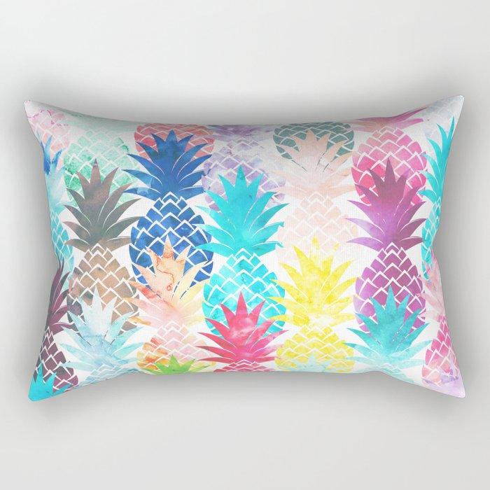 Hawaiian Pineapple Pattern Tropical Watercolor Rectangular Pillow