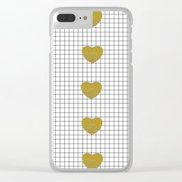Gold Hearts and Grid Clear iPhone Case