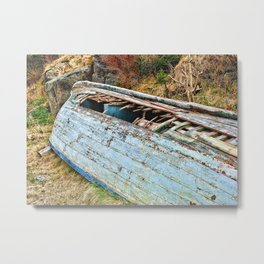 Old Boat in the field Metal Print