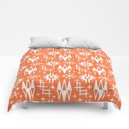 Mid Century Modern Atomic Space Age Pattern Orange Comforters