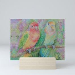 Lovebirds family Pastel colorful parrots Tropical jungle Wildlife birds painting Mini Art Print