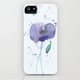 Blue Poppy flower illustration painting in watercolor iPhone Case