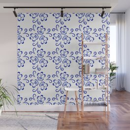 Abstract flowers in blue Wall Mural