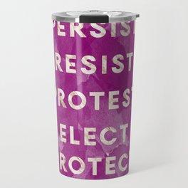 Persist & Resist Purple Watercolor & Marble Travel Mug