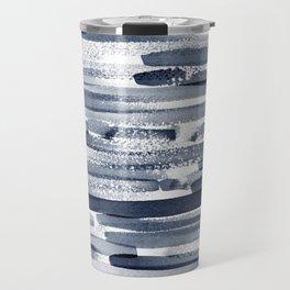 Abstract Navy Blue Print Travel Mug