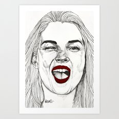 Kate with the Red Lips Art Print