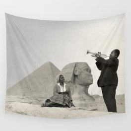 Louis Armstrong at the Spinx and Egyptian Pyrimids Vintage black and white photography / photographs Wall Tapestry