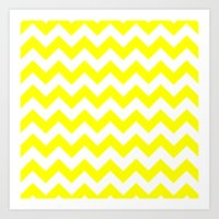 chevron Art Prints featuring Chevron (Yellow/White) by 10813 Apparel