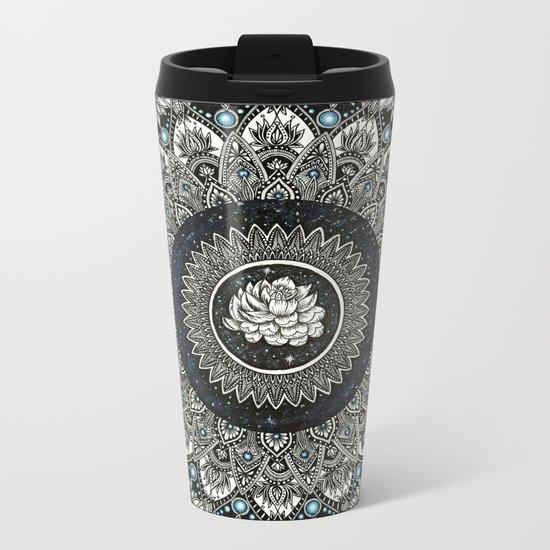Black and White Flower Mandala with Blue Jewels Metal Travel Mug