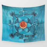chakra Wall Tapestries featuring Lotus Chakra by TheVioletWall