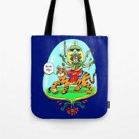hindu Tote Bags featuring Durga Hindu Goddess by MARICAMA