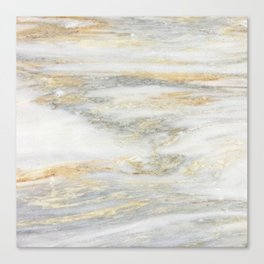 White Gold Marble Texture Canvas Print