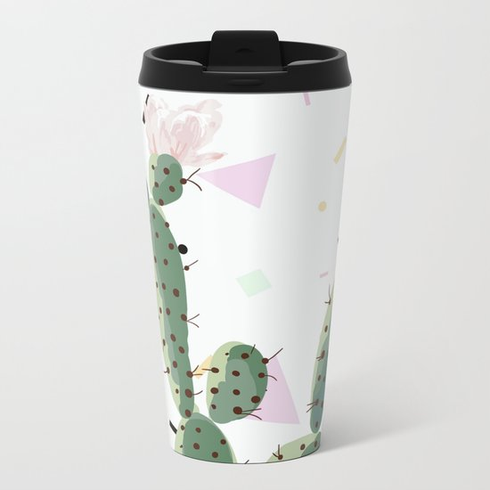 Memphis cactus Metal Travel Mug