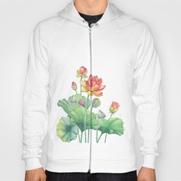Pink Egyptian lotus flower with leaves and seed head and bud Hoody