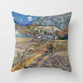 Vincent Van Gogh - Landscape at Saint Remy Throw Pillow