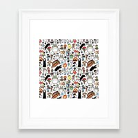 type Framed Art Prints featuring Kawaii Ghibli Doodle by KiraKiraDoodles