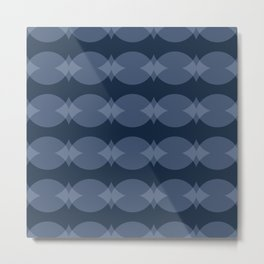 Eclipsing Circles in Navy Blue Metal Print