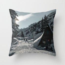 mountain, snowy, snow, house, winter, resort Throw Pillow