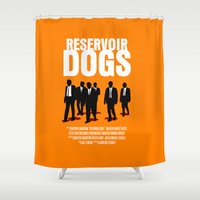 reservoir dogs Shower Curtains featuring Reservoir Dogs Movie Poster by FunnyFaceArt