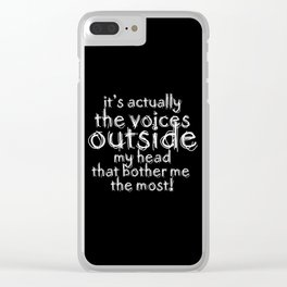 It's actually the voices OUTSIDE my head that bother me the most! | Typography Introverts Black Vers Clear iPhone Case