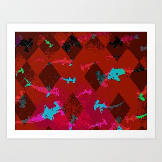Argyle Frenzy in Ruby Art Print