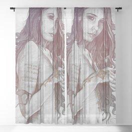 You Lied: Rainbow (nude girl with mehndi tattoos) Sheer Curtain