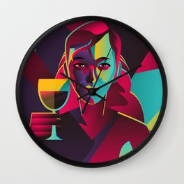 colorful cubist girl drinking wine Wall Clock