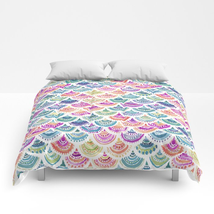 RAINBOW MERMACITA Colorful Mermaid Scales Comforters