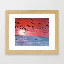 Seabird Silhouettes Framed Art Print