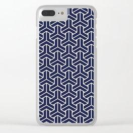 Japanese Yukata Jinbei Bishamon Navy pattern Clear iPhone Case