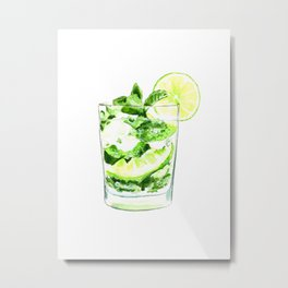 Cocktails. Mojito. Watercolor Painting. Metal Print